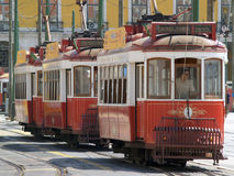Traditional trams downtown Lisbon Royalty Free Stock Photo