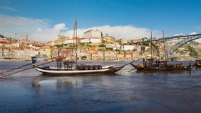 Traditional transport boats in Porto stock video footage