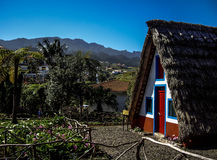 Traditional triangular thatched house palheiro, Santana, Madeira Island, Funchal, Portugal stock image