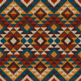 Traditional Tribal Aztec seamless pattern on the wool knitted te. Vector illustration of seamless tribal knitted wool aztec design pattern. EPS available Stock Photography