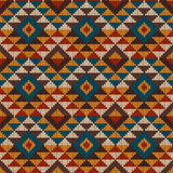 Traditional Tribal Aztec seamless pattern on the wool knitted te Stock Image