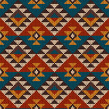 Traditional Tribal Aztec seamless pattern on the wool knitted te Stock Photos