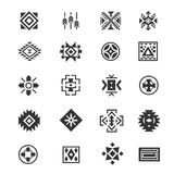 Traditional tribal mexican symbols. Navajo ethnic culture vector tattoo icons for print. Set of indian and aztec geometrical signs illustration Royalty Free Stock Image