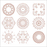 Traditional tribal pattern ornaments set soft brown colored Stock Photos