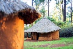 Traditional, tribal village of Kenyan people Stock Photos