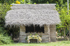Traditional tropic house made from palm leaves Stock Photos