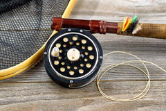 Traditional trout fishing equipment Stock Photo