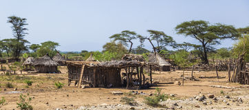 Traditional tsemay houses. Omo Valley. Ethiopia. Royalty Free Stock Photography
