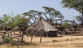 Traditional tsemay houses. Omo Valley. Ethiopia. Traditional tsemay houses. Small village in tsemay territory near Weita. Omo Valley. Ethiopia Royalty Free Stock Photography