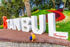 Traditional Tulip Festival in Emirgan Park in Istanbul,Turkey Royalty Free Stock Photo