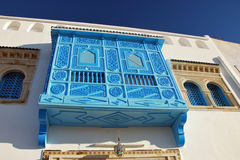 Traditional tunisian balcony. Photo of a traditional woden tunisian balcony Stock Image