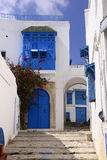 Traditional Tunisian Buildings, Arabic Pateo, Blue Doors and Shutters Stock Image