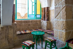 Traditional Tunisian Cafe. Colorful Empty Table at Cafe in Medina Stock Images