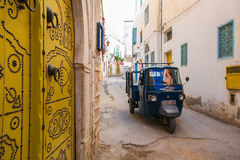 Traditional Tunisian door. Detail of the daily life on the stree Stock Photos