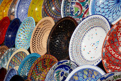 Traditional Tunisian Plates on the Bazaar Stock Photography