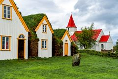 Traditional turf houses in Glaumbaer - Iceland Royalty Free Stock Photo