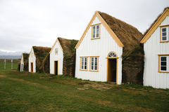 Traditional turf houses in Iceland stock photo