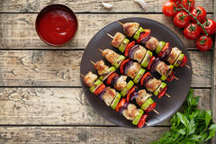 Traditional turkey or chicken meat skewers kebab with tomatoes Royalty Free Stock Photo