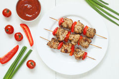 Traditional turkey kebab skewer barbecue meat with Royalty Free Stock Photography