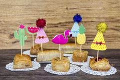 Turkish Ramadan Dessert Baklava with Party Sticks. Traditional Turkish Arabic Dessert - Baklava with Nuts royalty free stock photography