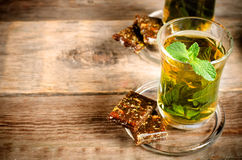Traditional turkish arabic tea with mint Stock Photo