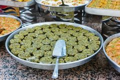 Traditional Turkish baklava sweets in the open buffet in a hotel in Turkey stock photos
