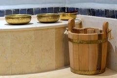 Traditional Turkish Bath. Wash-bowls inside of a traditional Turkish Bath Stock Images
