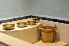 Traditional Turkish Bath. Wash-bowls inside of a traditional Turkish Bath Royalty Free Stock Photos