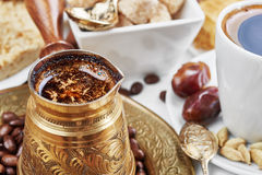 Traditional Turkish black coffee Stock Photography