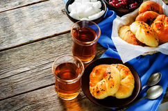 Traditional Turkish bread rolls. Achma. Stock Photos