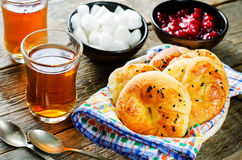 Traditional Turkish bread rolls. Achma. Royalty Free Stock Photo