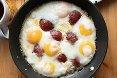 Traditional Turkish Breakfast, eggs with sucuk, bal kaymak, oli stock photography