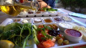 Traditional turkish breakfast. And food stock video