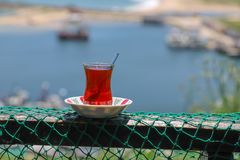 Traditional Turkish breakfast and turkish tea royalty free stock photography