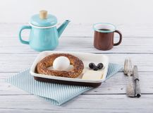 Breakfast with simit. Traditional turkish breakfast with tea and simit Royalty Free Stock Images