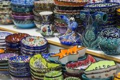 Traditional Turkish ceramics on the Grand Bazaar Stock Photos