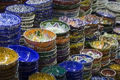 Traditional Turkish ceramics on the Grand Bazaar Stock Photography