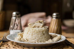 Traditional Turkish chicken on a rice (tavuklu pilav). Stock Images
