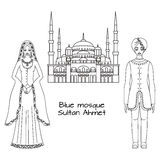 Traditional turkish clothing, national middle east cloth, man and woman sultan costume and The Blue Mosque, Sultanahmet Camii, Ist Stock Image