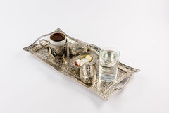 Traditional turkish coffee and delight Stock Photos