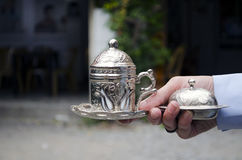 Traditional Turkish Coffee With Turkish Delight. In silver serving set Stock Photos