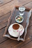Traditional turkish coffee and turkish delight on vintage tray o stock photo
