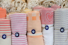 Traditional turkish cotton towels. Traditional turkish cotton towels rolled Stock Photography