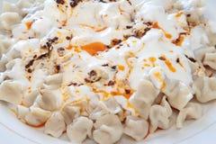 Traditional Turkish cuisine - Manti - turkish ravioli Royalty Free Stock Images