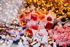 Traditional turkish delight  lokum candy. Load of traditional turkish delight lokum candy royalty free stock image