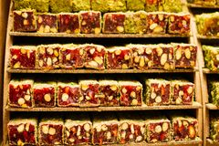 Traditional turkish delight  lokum candy. Load of traditional turkish delight lokum candy royalty free stock photos
