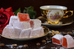 Traditional turkish delight with rose Royalty Free Stock Photo