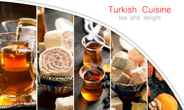 Traditional turkish delight and tea Royalty Free Stock Photography