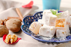 Traditional turkish delight with walnuts Royalty Free Stock Photography