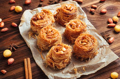Traditional turkish dessert baklava nest with peanuts Royalty Free Stock Photos